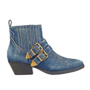 Guess 7.5 denim buckle boots